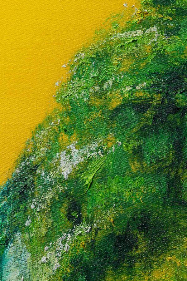 HelenaSirceljArt-Waterfall-Madakaripura-Original-Oil-Painting-on-Giorgio-Armani-Satin-Limited-Edition-1