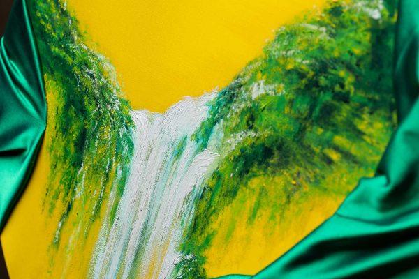 HelenaSirceljArt-Waterfall-Madakaripura-Original-Oil-Painting-on-Giorgio-Armani-Satin-Limited-Edition-4