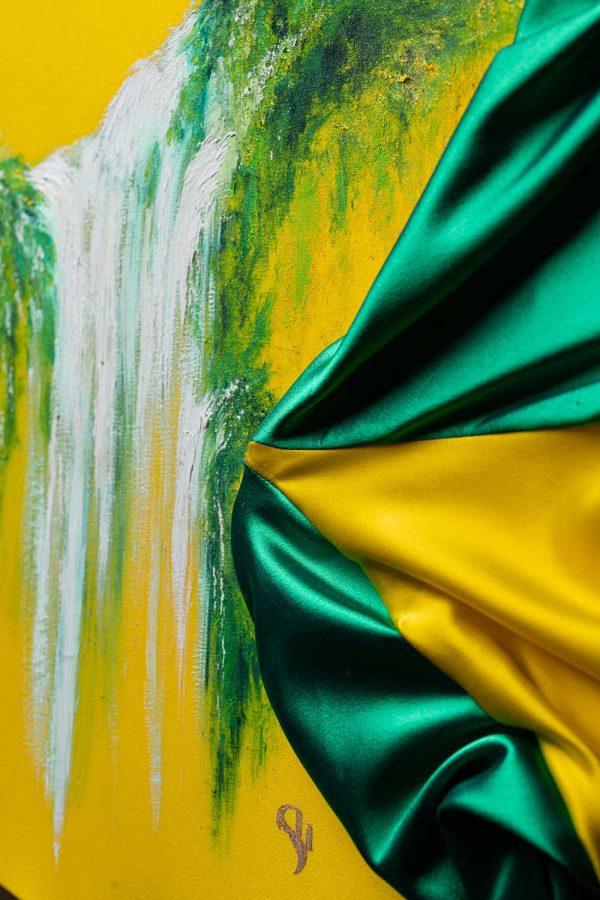 HelenaSirceljArt-Waterfall-Madakaripura-Original-Oil-Painting-on-Giorgio-Armani-Satin-Limited-Edition-5