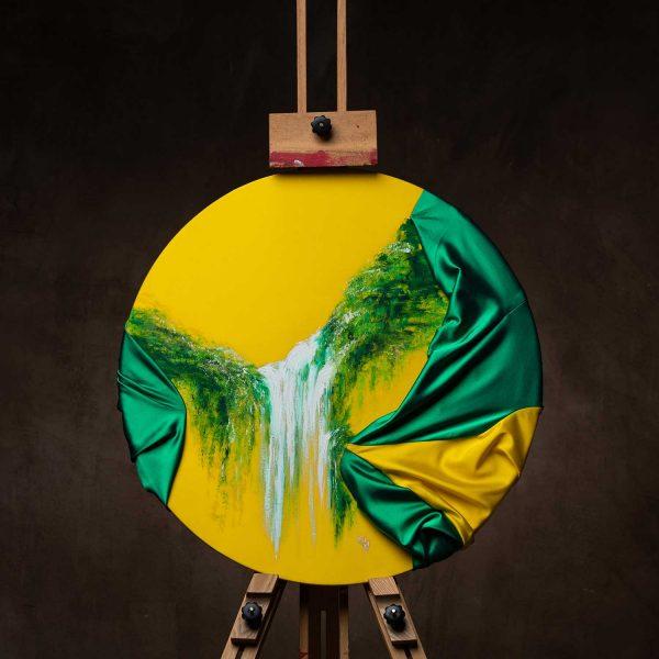 HelenaSirceljArt-Waterfall-Madakaripura-Original-Oil-Painting-on-Giorgio-Armani-Satin-Limited-Edition