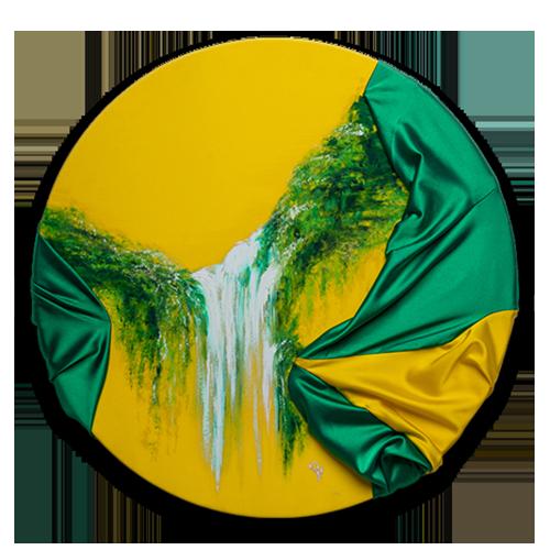 HelenaSirceljArt-Waterfall-Madakaripura-Original-Oil-Painting-on-Giorgio-Armani-Satin-Limited-Edition-details